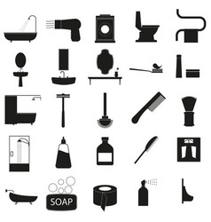 bath accessories set black icon on white vector image vector image