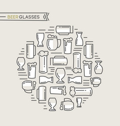 Beer glasses collection vector