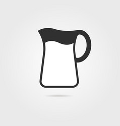 Black pitcher with milk and shadow vector