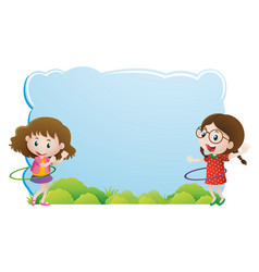 Border template with girls playing hulahoop vector