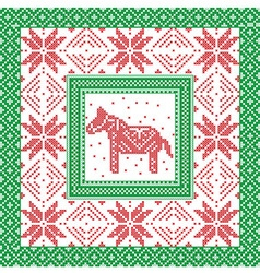 Christmas pattern with horse and snowflakes in vector image
