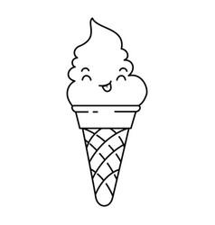 Delicious ice cream kawaii character vector