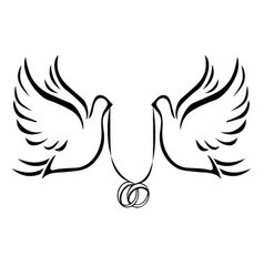 Doves with wedding rings 2 vector