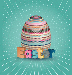 Easter poster egg on blue pattern eggs with vector