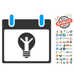 Electrician calendar day flat icon with vector