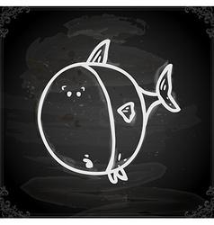 Fish drawing on chalk board vector