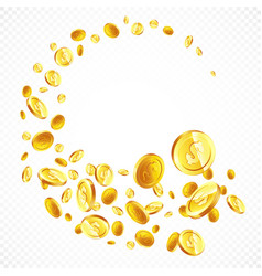 flying gold coins in different positions vector image