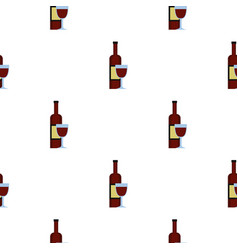 Glass of red wine and a bottle pattern seamless vector