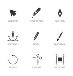 Graphic designer tools icons vector image