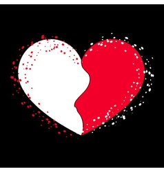 Halves heart icon on black 2 vector image vector image