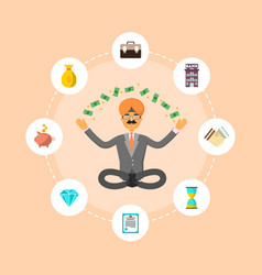 Indian businessman meditation in lotus pose vector