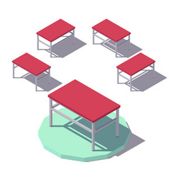 Isometric red office table vector
