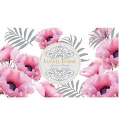 luxury beautiful card with pink poppy flowers vector image vector image