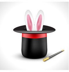 Magic hat with bunny rabbit ears magic show vector