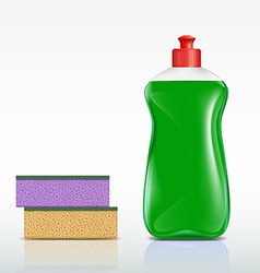 plastic bottle with detergent and sponge vector image vector image