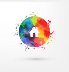 Rainbow grungy watercolor icon inside vector