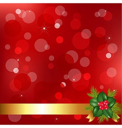 Red christmas background with holly berry vector