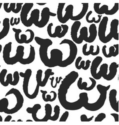 seamless pattern with calligraphy letters w vector image vector image