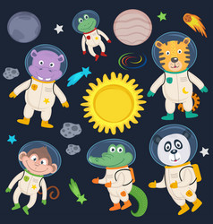 Set of animals in space part 2 vector
