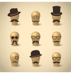 Set of retro mustaches hats and glasses vector