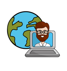 Teacher class online in the laptop and global vector