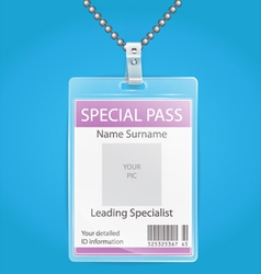 Transparent plastic ID holder for any background vector image vector image