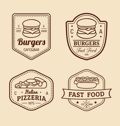 vintage fast food logos set retro eating vector image vector image