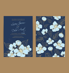 Wedding invitation floral background vector