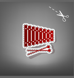 Xylophone sign red icon with for applique vector