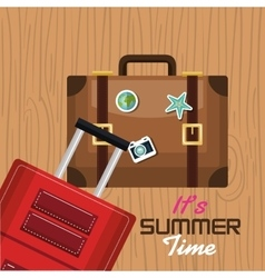 travel its time summer suitcase vacation design vector image