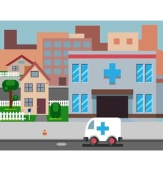 Cartoon street hospital stylish background retro vector