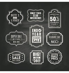 retail sale tags sign frame on chalkboard vector image