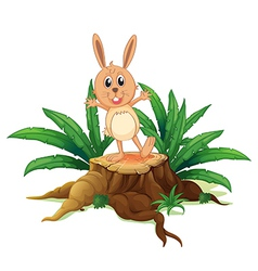A rabbit above a stump vector image