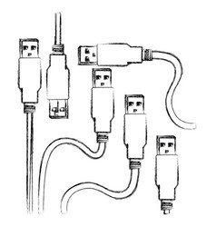 blurred silhouette set collection usb connectors vector image