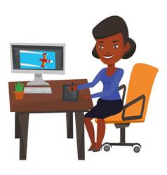 Designer using digital graphics tablet vector