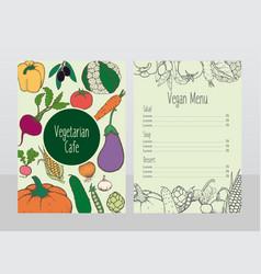 hand drawn vegetarian cafe menu template vector image