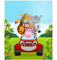Cartoon collection animal vacation with red car vector