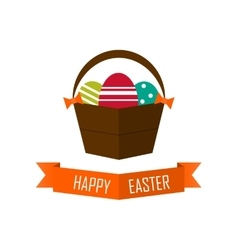 Easter card with eggs flat vector
