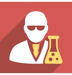 Scientist with flask flat longshadow square icon vector