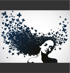 woman with butterflies flying from her hair vector image