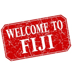 Welcome to fiji red square grunge stamp vector