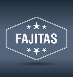 Fajitas hexagonal white vintage retro style label vector