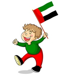 Arab Emirates flag and happy boy vector image vector image