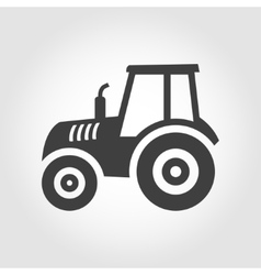 Balck tractor icon on grey background vector