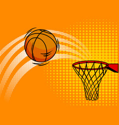 basket ball pop art style vector image vector image