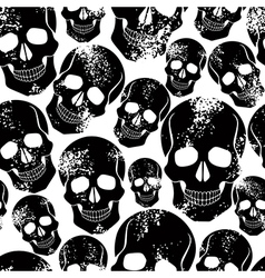Black skulls seamless pattern vector image