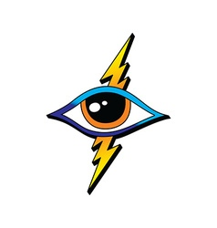 Bolt lightning eye symbol theme vector
