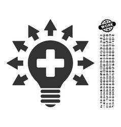 Disinfection lamp icon with professional bonus vector