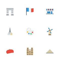 Flat icons french flag archway and other vector