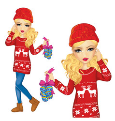 Girl with christmas decorations vector